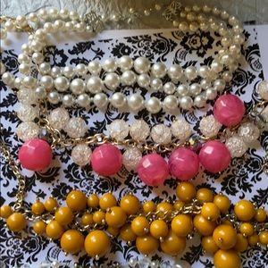 Four chunky choker statement necklaces lot
